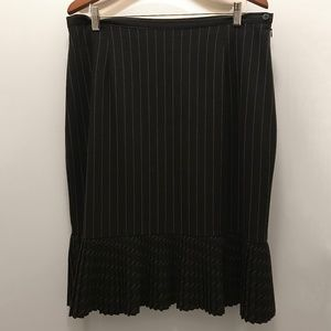 Pinstripe Black White Laura Skirt with Pleating